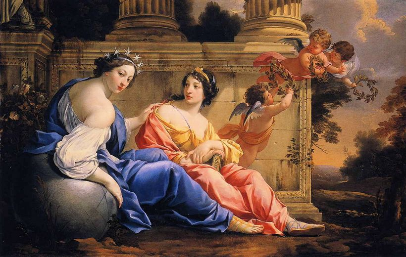 Simon Vouet, Les muses Uranie et Calliope	(1634), huile sur toile, 79,8 X 125 cm.	©National Gallery of Art, Washington D.C. / Wikimedia Commons